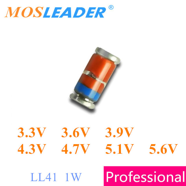 Mosleader 5000 قطعة LL41 1 W ZM4728 3.3 V ZM4729 3.6 V ZM4730 3.9 V ZM4731 4.3 V ZM4732 4.7 V ZM4733 5.1 V ZM4734 5.6 V الصينية zeners