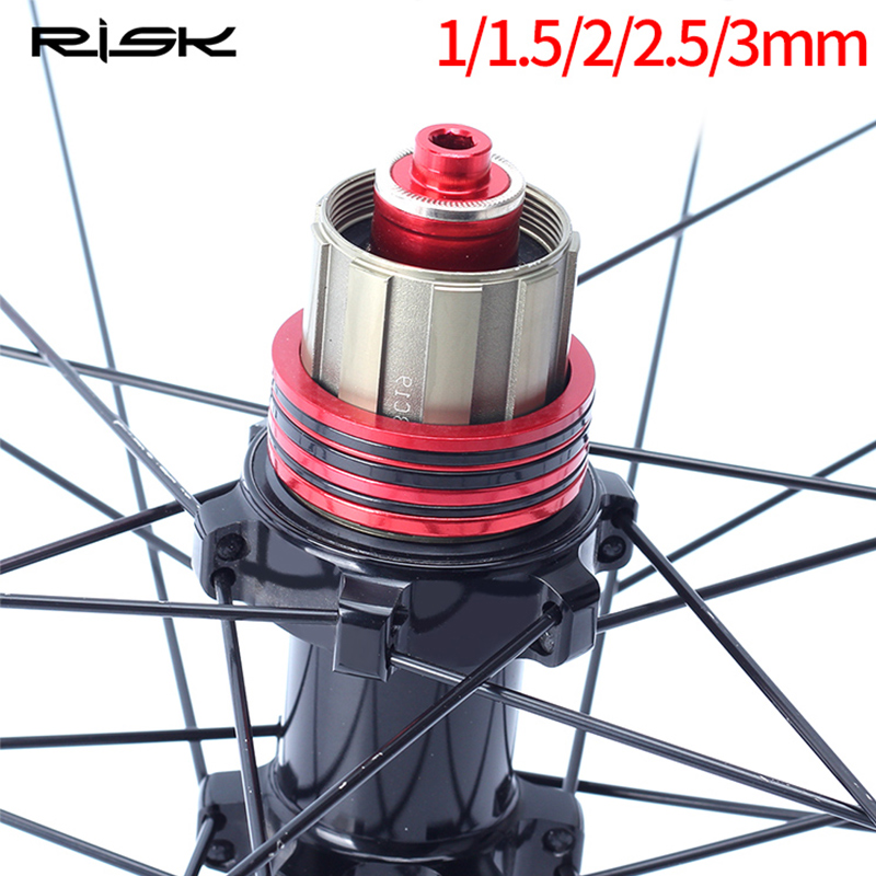 15pcs Mountain Bike Bottom Bracket Washer Bicycle Flywheel Hub Spacer Gasket Aluminium Alloy Bike Washer 1/1.5/2/2.5/3mm