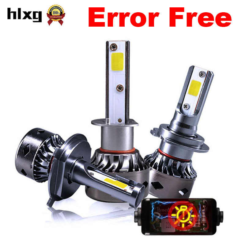 HLXG 2PCS H7 LED Canbus Bulbs H11 H1 H4 Car Headlight 80W 12000LM 6000K 9005 9006 H8 H9 Auto  Lights No Error for Volkswagen
