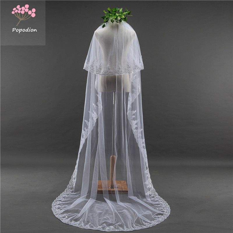 Wedding accessor 3 meters wedding veil long white wedding lace sequins bridal veils two-layer veils for bride with comb WAS10062