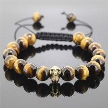 1 unid caliente de Shamballa de la joyería cuerda hechos a mano de alta calidad tigre ojo de piedra con cuentas Skull Heads pulsera para hombre y mujeres