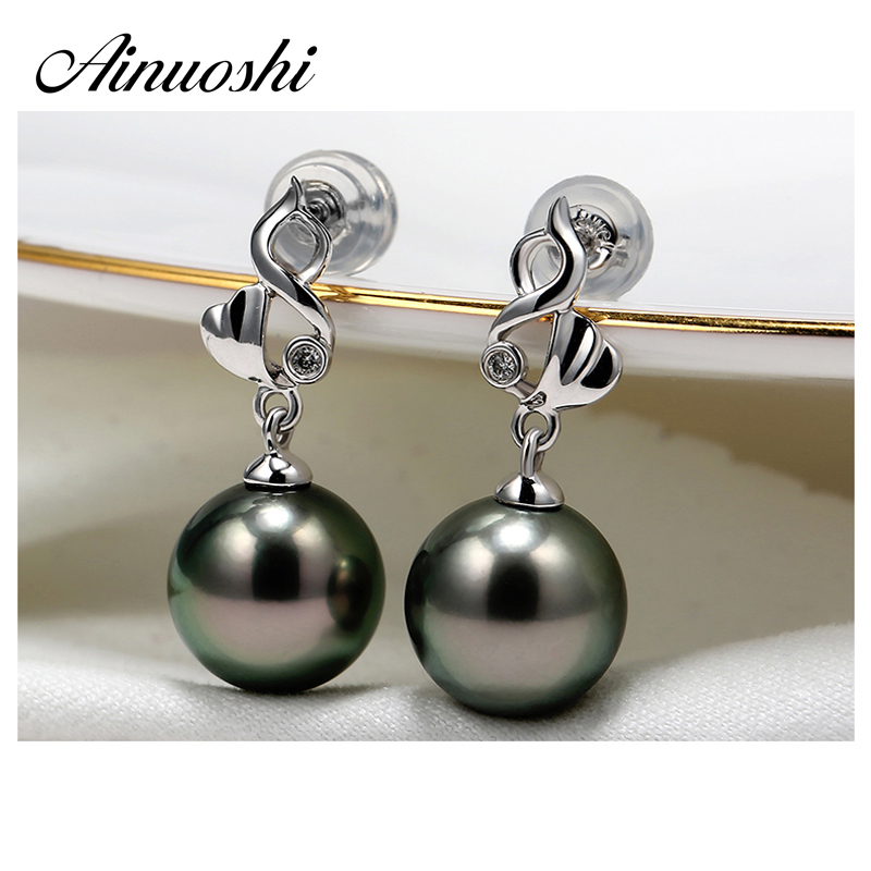 AINUOSHI Luxury Push Back 925 Sterling Silver Earring Women Engagement Earrings 9mm Natural Black Tahiti Pearl Drop Earring GiftAINUOSHI Luxury Push Back 925 Sterling Silver Earring Women Engagement Earrings 9mm Natural Black Tahiti Pearl Drop Earring Gift
