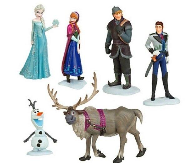 6 Pz/set Disney Giocattoli per I Bambini Congelati Action Figures Congelato Cartoon Anime Bambole Per Bambini Regalo Di Compleanno Modello Figure Tq0122
