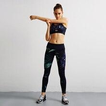 Women Sport Yoga Set Gym Running Sport Suit Elasticity Fitness Clothing Workout Bra Print Pant Gym