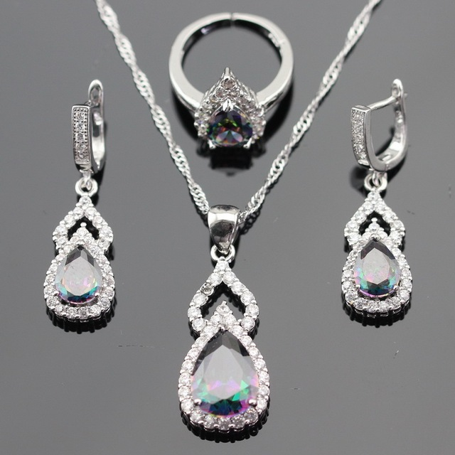 Multicolor Rainbow White Cubic Zirconia Silver Color Jewelry Sets For Women Earrings Necklace Pendant Open Ring Free Gift Box