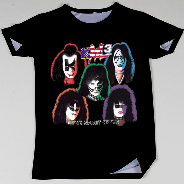 e75e1f8cde4e Men Rock 3D Kiss Band T Shirts Album Retro Printed T-shirts New Summer  Fashion Top Tees Short Sleeve TShirts