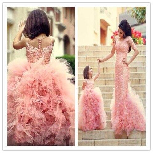 2014 Hot Sale Custom Make   Girls   Pageant   Dresses   Princess Vestido De Daminha Floor Length Tulle   Flower     Girl     Dresses   Little Kids