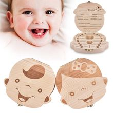 Baby Tooth Box Spanish English Russian French Baby Wood Tooth Box Organizer Milk Teeth Storage Collect Teeth Umbilica Save Gifts