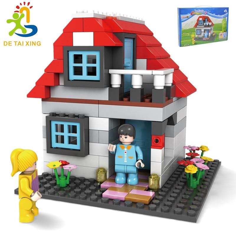 JDLT Mini Villa hut Legoe Building Blocks 214pcs Bricks Toys For Children Birthday Gift Compatible With Legoe 252-3 592pcs new technic 3in1 my world building blocks sets mountain hut compatible legoinglys minecrafter toys for children