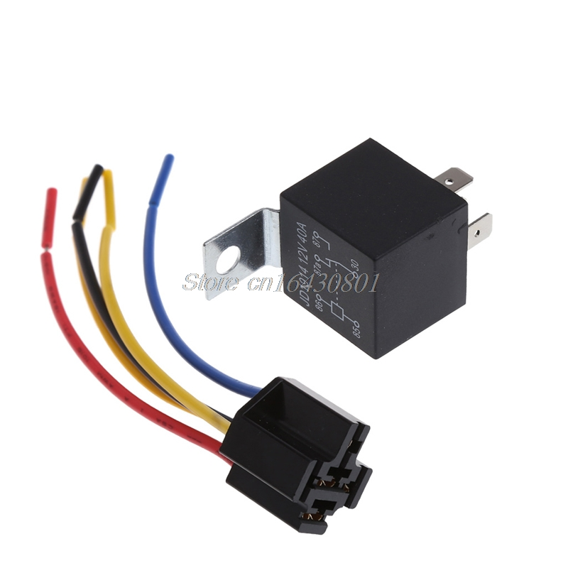 Waterproof Car Relay DC 12V 40A 5Pin Automotive Fuse Relay Normally Open #S018Y# High Quality waterproof car relay 12v 40a 4 modified car with cable