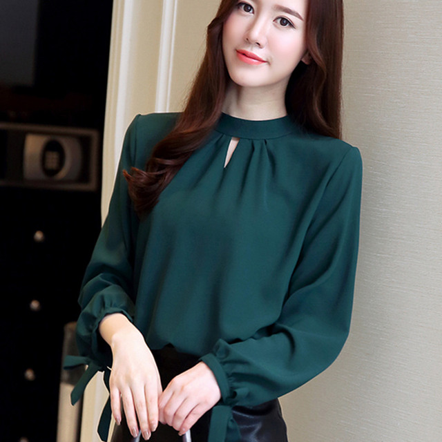 57240cb29e8bdc 2019 New Autumn Tops Womens Tops and Blouses Ladies Long Sleeve Shirts  Casual Chiffon Blouse Work Wear Office Blusas Femininas