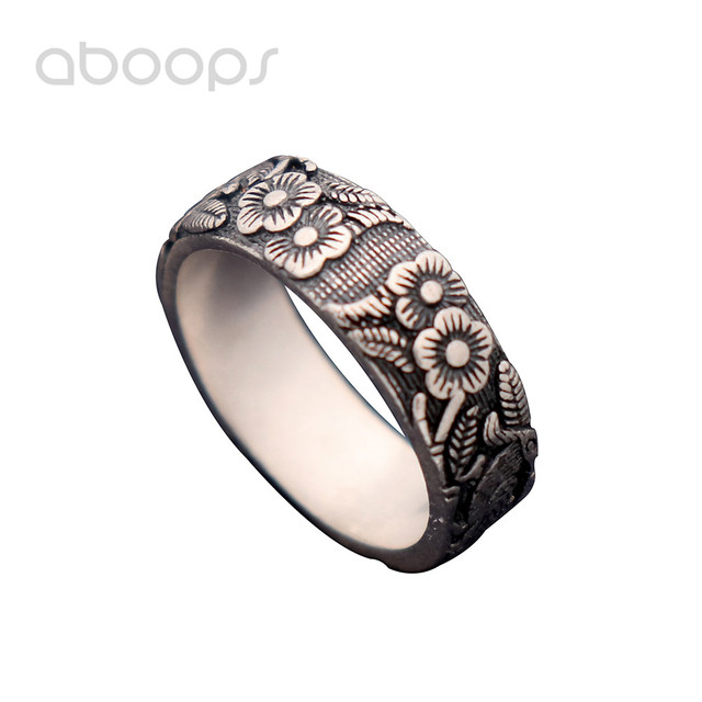 9mm Vintage Black 990 Sterling Silver Magpie Band Ring with Plum Blossom for Men Women Size 6 7 8 9 10 Free Shipping