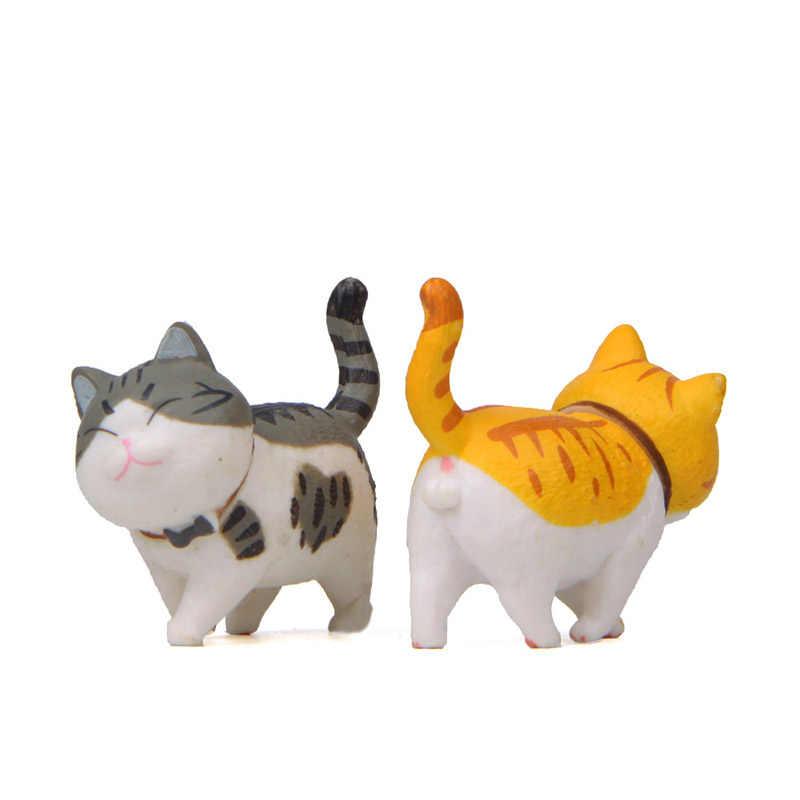 9 pçs/set Encantador Dos Desenhos Animados Gatos Kawaii Pequeno sino Brinquedo Figura de Ação do PVC Animal Mini Decoração Gato Brinquedos Anime Bonecas de Natal presente