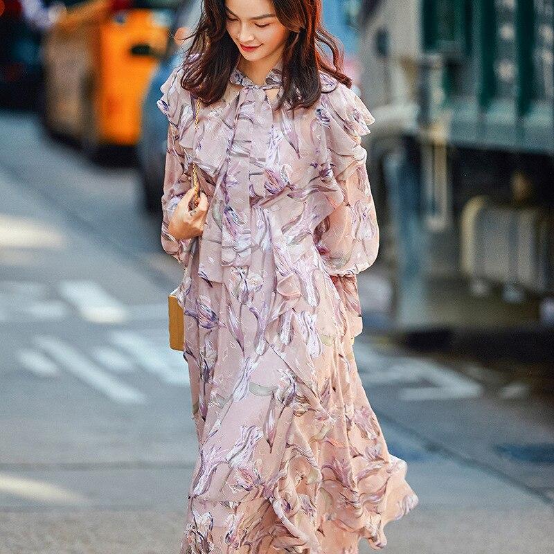 5cc88c18574 À Robe Occasionnels Imprimé Femmes Féminine Floral Robes Nanastyle longue  Mixed Printemps Volants Manches Mi Longues ...