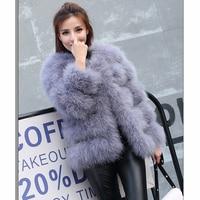 New 2018 Ostrich feather coat Korean Slim plus cotton long sleeved women's round neck section encryption genuine fur