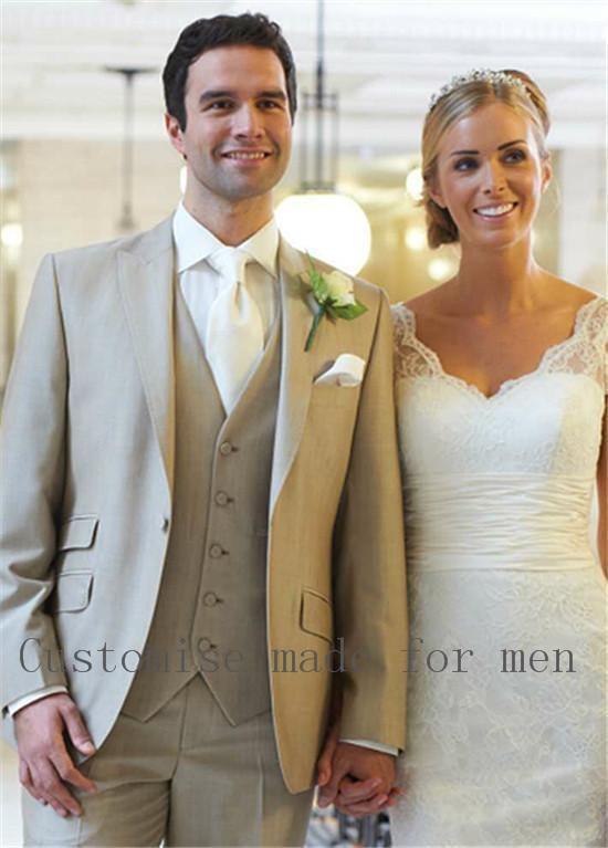personnalis madesize et couleur deux boutons smokings de mari beige meilleur homme costume. Black Bedroom Furniture Sets. Home Design Ideas
