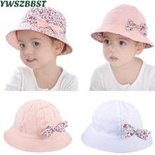 Summer Baby Girls Sun Hat Bowknot estampado de flores de algodón sombrero del bebé Kids Child Cap Bucket Hat doble cara puede usar accesorios de fotografía