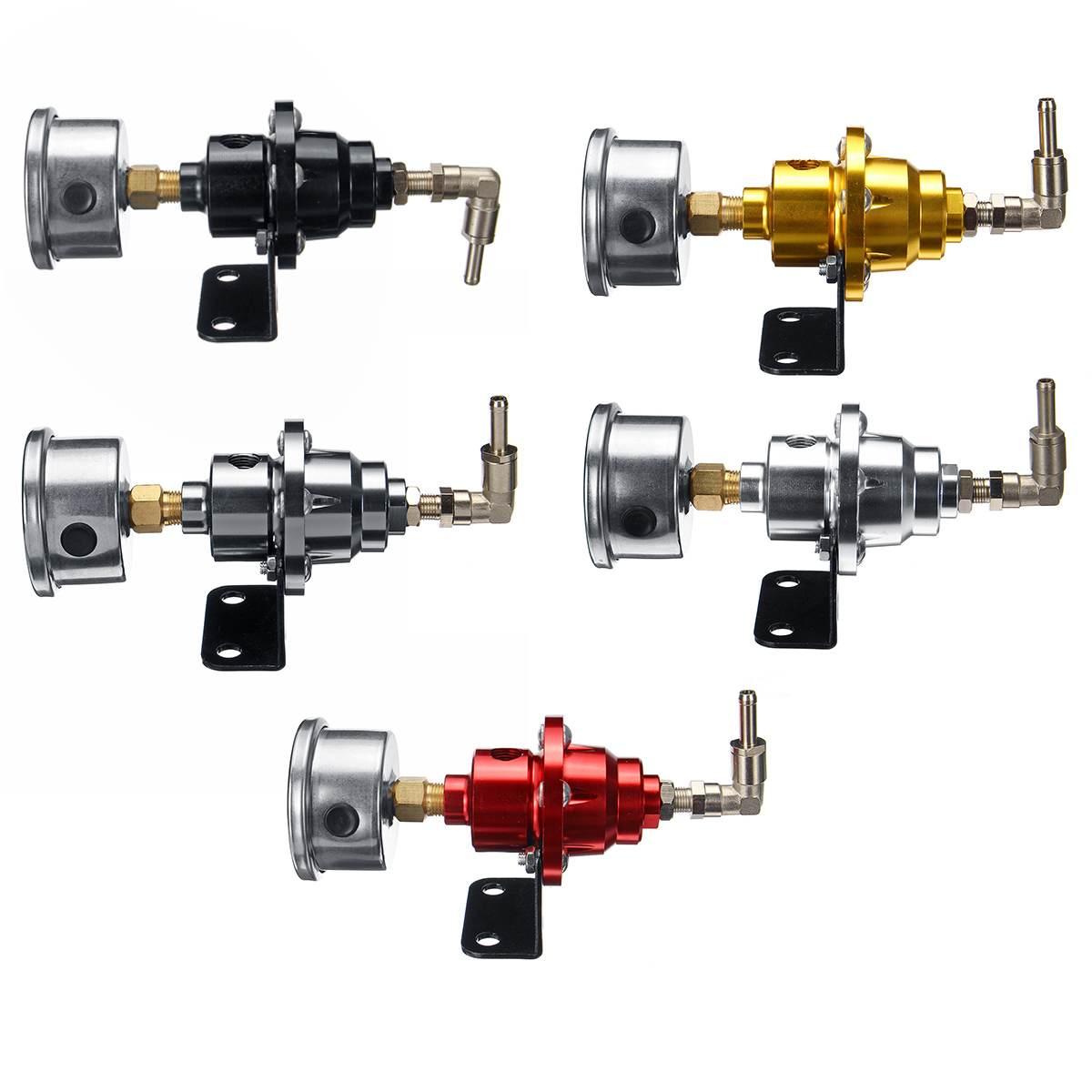 6 Color Black Titanium Red Gold Silver Blue Universal Adjustable Aluminum Fuel Pressure Regulator With Gauge Kit