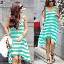 Women's Summer Loose Stripe Natural O-neck Mid-Calf Broadcloth Sleeveless Beach Long Dress