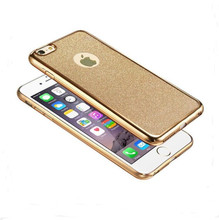 2016 Luxury Ultra Thin Rubber Plating Glitter+Electroplating TPU Soft Mobile Phone Case For iPhone 6 6s Plus Cover bag