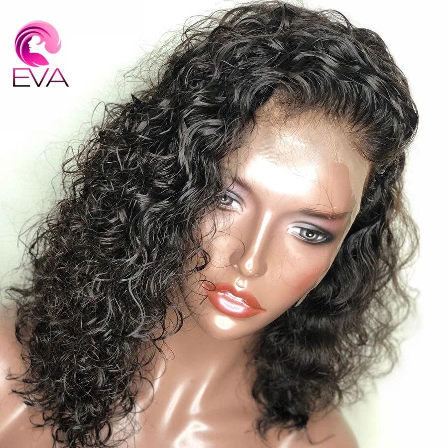 Eva 150% Densité 13x6 Avant de Lacet Perruques de Cheveux Humains Pré Pincées Avec Bébé Cheveux Bouclés Court de Cheveux Humains bob Perruques Brésilienne Remy Cheveux