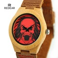 Luxury Skull Dial Men's Women's Bamboo Wood Watch Quartz Leather Wristwatches Halloween Watch For Lovers Gift