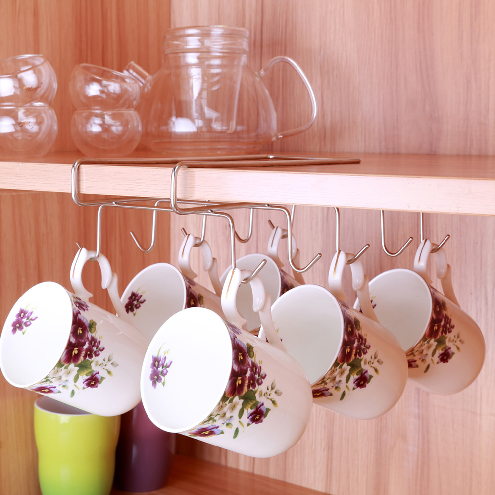 6 Hooks Cup Holder Hang Kitchen Cabinet Under Shelf: 10 Hooks Stainless Steel Cup Hanging Bracket Holders