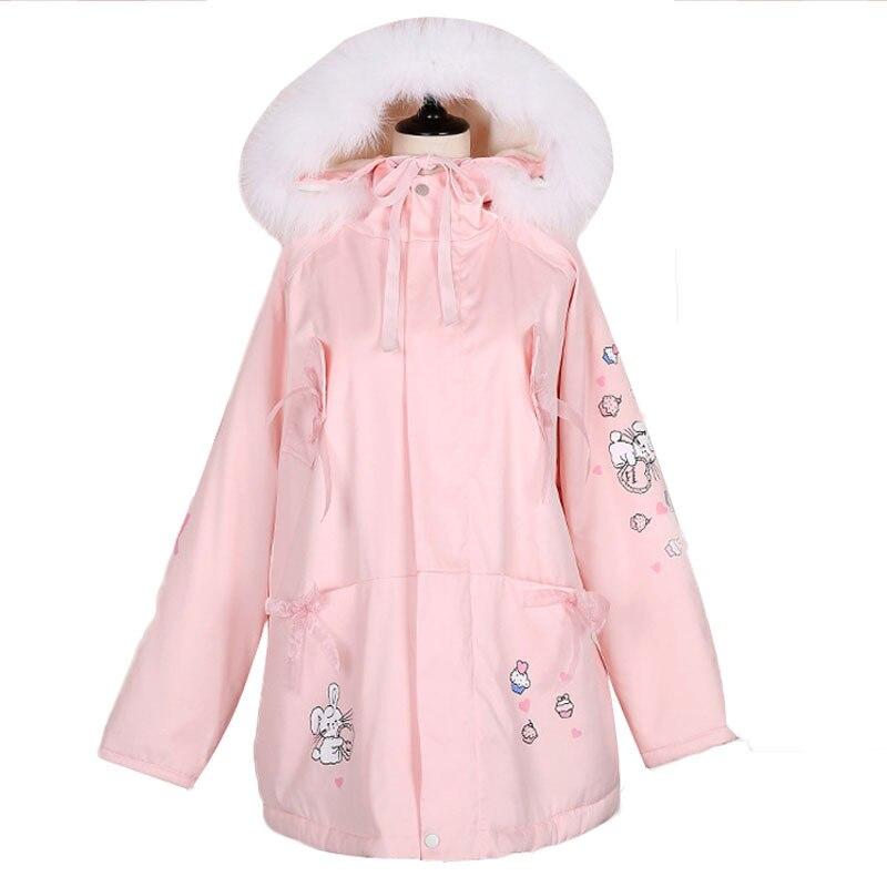 달콤한 모피 칼라 여성 롱 파커 스 코트 양털 안감 로리타 핑크 자켓 코튼 보우 타이 버니 프린트 겨울 따뜻한 아웃웨어 코트-에서파카부터 여성 의류 의  그룹 1