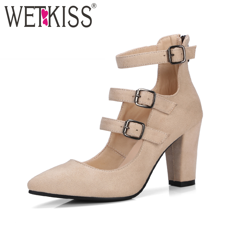 WETKISS Big Size 34-43 Fashion Buckle Strap Gladiator Women Pumps Flock Pointed toe Thick High Heels Shoes Woman Zip Footwear women pumps flock high heels shoes woman fashion 2017 summer leather casual shoes ladies pointed toe buckle strap high quality