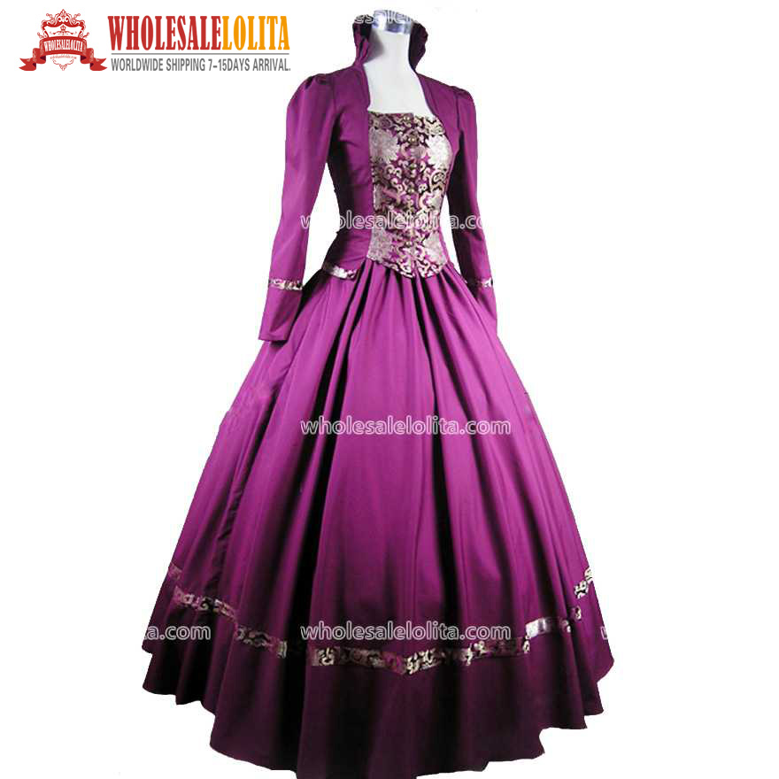 Victorian Gothic Ball Gown Dresses Purple
