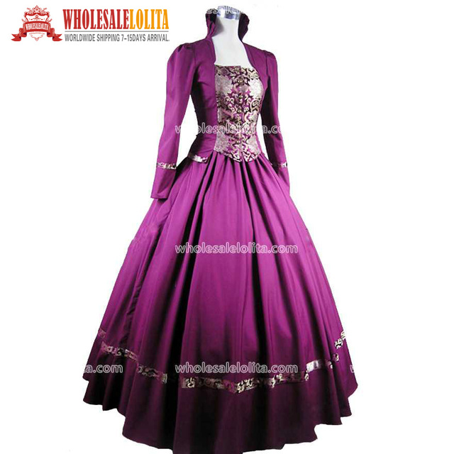 purple gothic victorian brocade dress ball gown steampunk