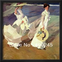 High quality Portrait painting Women art on canvas Hand painted A Walk on the Beach by Joaquin Sorolla y Bastida Reproduction