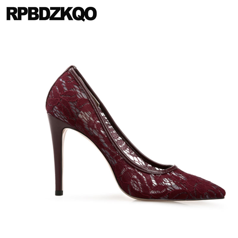 11 43 12 44 Ladies Stiletto Pointed Toe Bridal Shoes Wedding Lace  Crossdresser Size 33 Pumps Mesh Bride High Heels Plus Wine Red-in Women s  Pumps from Shoes ... 4564160c6f48