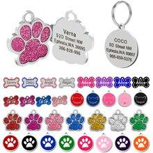 Gratis grabado perro ID etiqueta del animal doméstico Collar accesorios de decoración personalizada perros etiqueta Nombre y teléfono hueso en forma de la pata