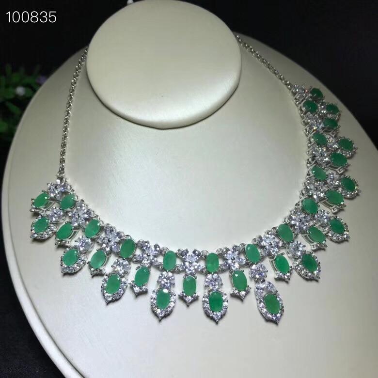 Image 2 - Uloveido Classic Green Emerald Statement Pendant Necklace Women 925 Sterling Silver Gemstone Necklace Pendant for Girl FN353-in Necklaces from Jewelry & Accessories