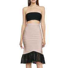 Sexy Black Lace Up Patchwork Bandage Dress Strapless Dresses For Women Two Pieces Set Causal Party Bodycon 2019 New