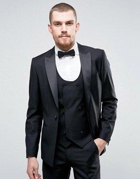 Black Business Custom Made Men Suit men Classic Groom Tuxedos Blazer Men Prom Mens suits Bridegroom (Jacket+Pant+Vest+Tie)