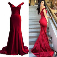 Sexy Red Mermaid Evening Dresses Long 2018 Formal Evening Gown Plus Size V Neck Satin Sleeveless Zipper Women Party Dress Prom