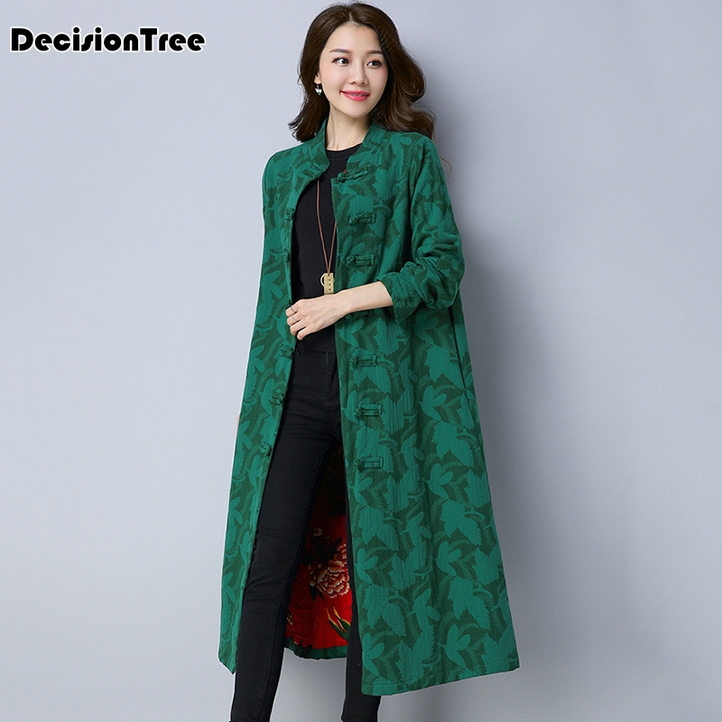 2019 new japan girl cotton linen front vintage stitch cheongsam chinese knot button straight loose hooded   trench   long coat