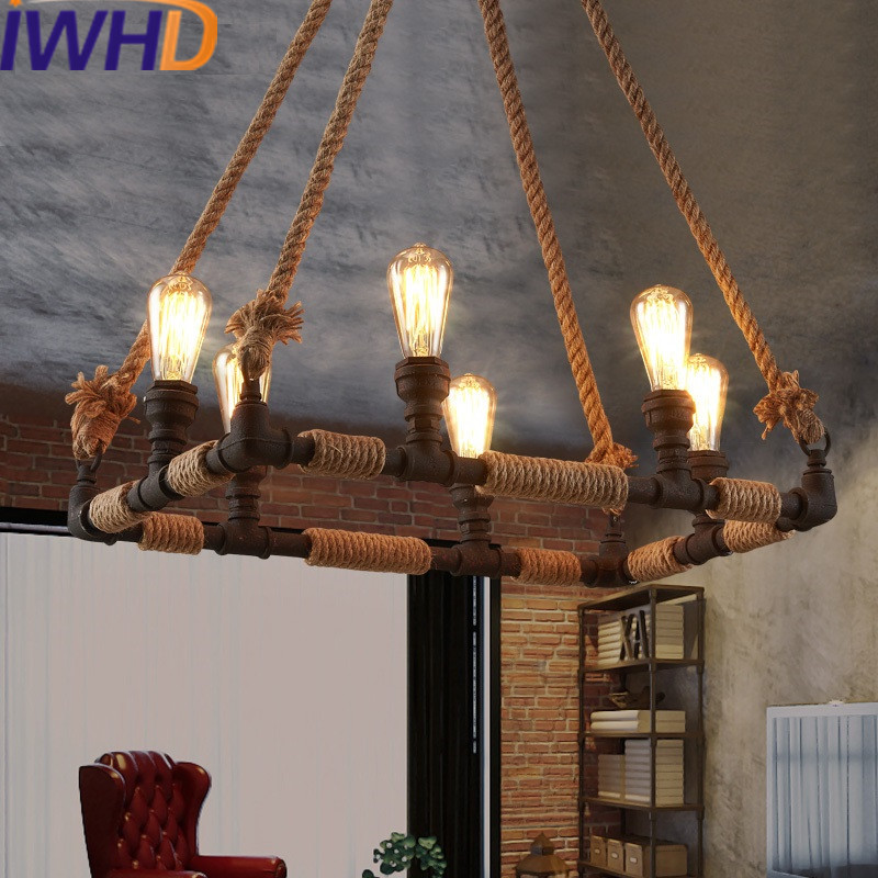 IWHD Hemp Rope Industrial Pendant Light Fixtures Loft Style Retro Pendant Lights Water Pipe Iron Suspended Lamp Dinging Lamparas iwhd vintage industrial hanging lamp loft style retro iron water pipe light pendant lamps kitchen hemp rope luminaier suspendu