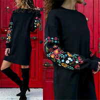 Jocoo Jolee Dresses Women Autumn Mini Dress Elegant Long Sleeve Floral Print Loose Warm Dress Black Streeetwear vestidos