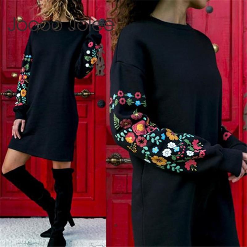 Jocoo Jolee Kleider Frauen Herbst Mini Kleid Elegante Langarm Floral Print Lose Warme Kleid Schwarz Streeetwear vestidos