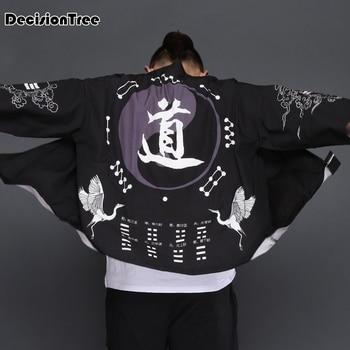 2019 летнее мужское кимоно, японская одежда, уличная одежда, повседневные куртки-кимоно harajuku, японский стиль, кардиган с принтом, китайская ве... >> DecisionTree YK Store