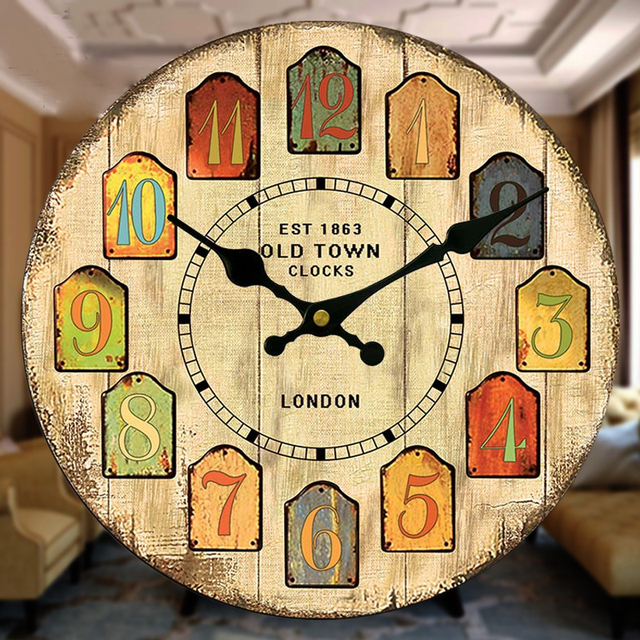 Free Shipping Large Vintage Wooden Retro Wall Clock Watch Rustic ...