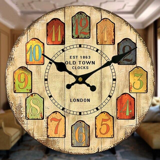 1097a2b131b Frete Grátis Grande Relógio de Parede Relógio De Madeira Do Vintage Retro  Rústico Chique Gasto Cozinha