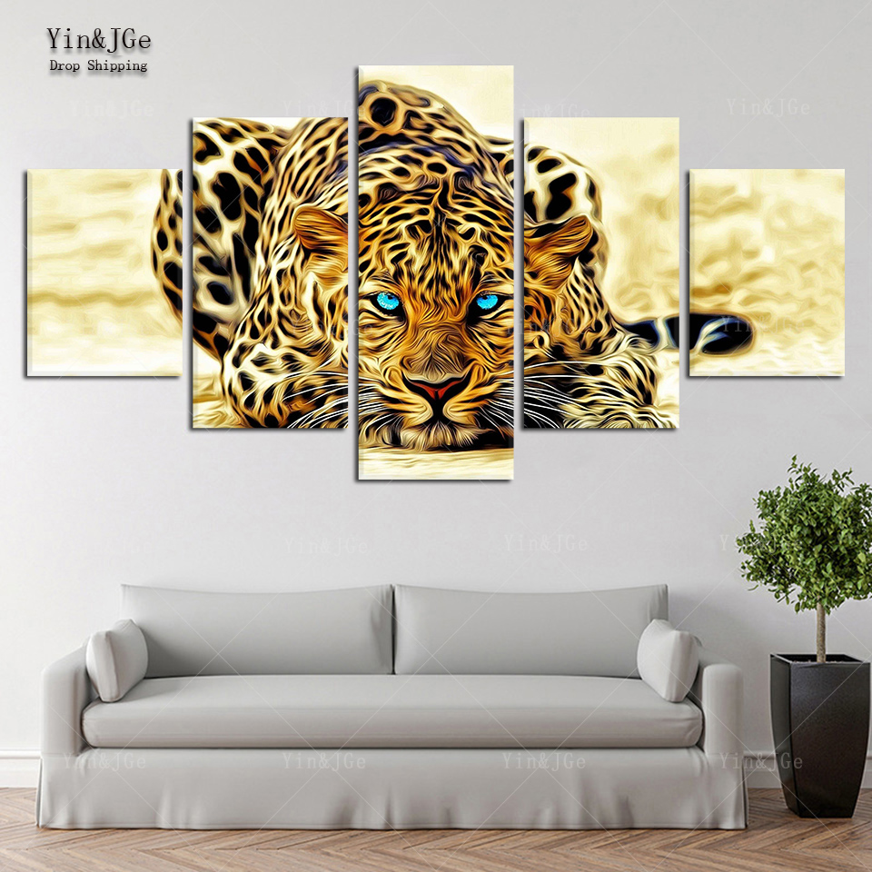 For Kids Room Artwork Abstract Animal Poster Picture 5 Pieces Blue Eyes  Tiger Canvas Painting Frame Cuadros Decoration Home Wall In Painting U0026  Calligraphy ...