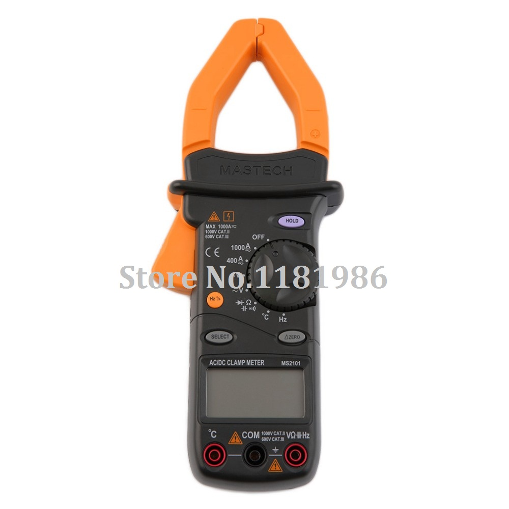 <font><b>MASTECH</b></font> <font><b>MS2101</b></font> 1000A Digital AC DC Current Voltage Clamp Meter 4000 Counts Multimeter Capacitance Temp Frequency HZ Tester image