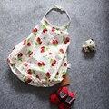 Morango Impresso Romper do bebê Sem Mangas de Algodão Do Bebê Menina Romper Do Bebê Macacão de Bebê Recém-nascido Roupas