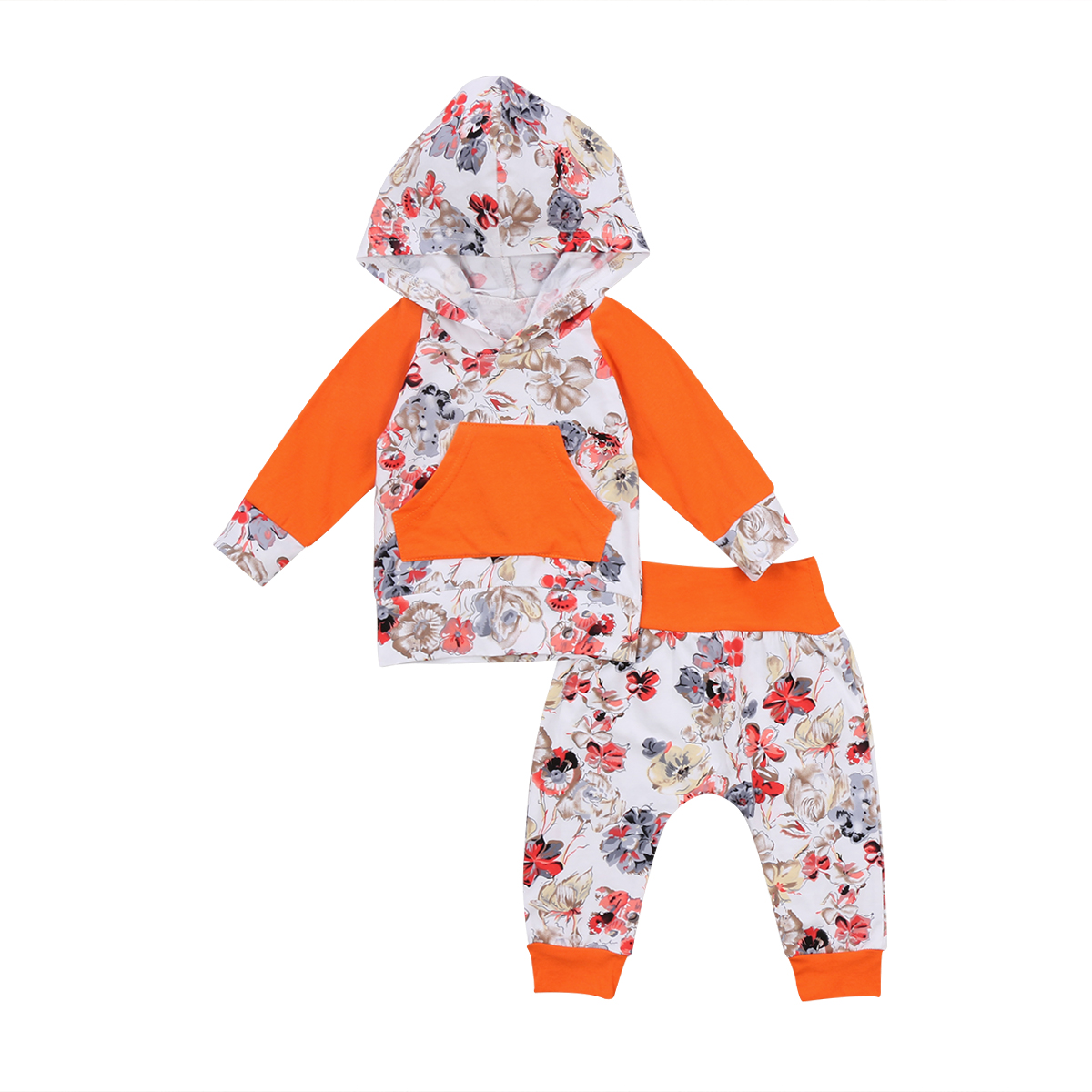 cute Infant Toddler Newborn Baby Girls clothes Hoodie sweatshirt Tops Floral Pants 2Pcs Outfits Set autumn baby girl Clothing