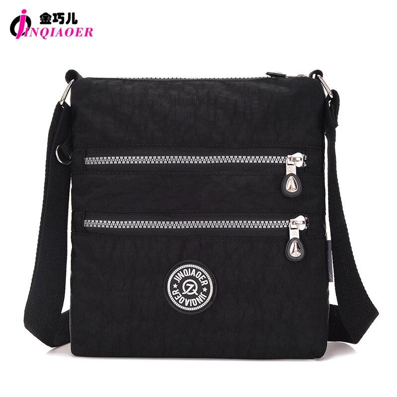 JINQIAOER Double Layer Zipper Women Shoulder Bag Waterproof Cute Messenger Bag Candy Color Brand Small Nylon Crossbody Bag Bolsa